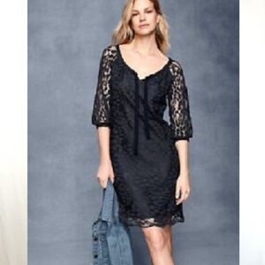 Garnet Hill Black Lace Coverup Dress